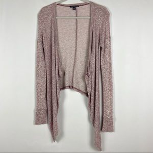 AE Heathered Pink/Red Open Front Cardigan